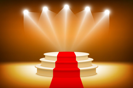award ceremony: 3d Illuminated stage podium for award ceremony vector illustration art