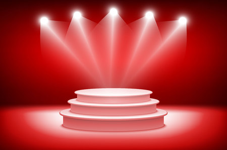drape: 3d theatrical background. scene and red curtains. red podium on a background of red drape curtains. vector art