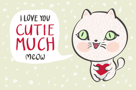 cutie: Vector illustration of a cute white cat with a heart is saying I love you cutie much. Cute romantic illustration with funny text. Valentines card with cartoon character. art