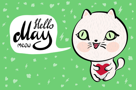 laughable: Cartoon cat with Hello May meow banner. background. Vector illustration. art