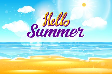 say hello: Summer Sea Background with Lettering Say Hello to Summer. Vector Illustration art