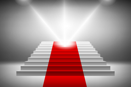 stair: 3d image of red carpet on white stair vector art Illustration