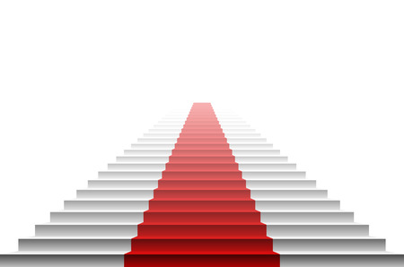 rope way: 3d image of red carpet on white stair. stairs red art