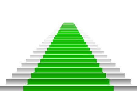 Stairs with a green carpet. staircase with green carpet. art vector carpet stairs Illustration