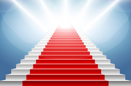 celebrities: Stairs covered with red carpet. Scene illuminated by a spotlight art