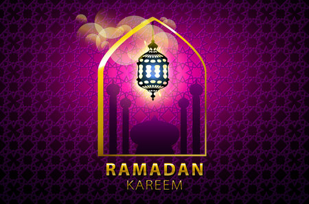 pink lamp: Hanging colorful Arabic lantern for holy month of Muslim community. Shiny greeting Islamic lamp for Ramadan. Beautiful lantern on Arabic geometric pattern with shadow. Soft pink colors art