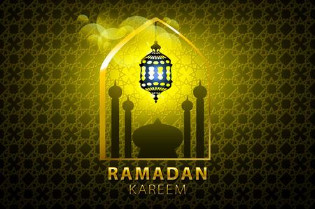 generosidad: tarjeta de felicitaci�n de Ramadan Kareem resplandeciente de oro de la l�mpara �rabe - Traducci�n de texto: Ramadan Kareem - La generosidad de mayo bendiga durante el mes sagrado del arte Vectores