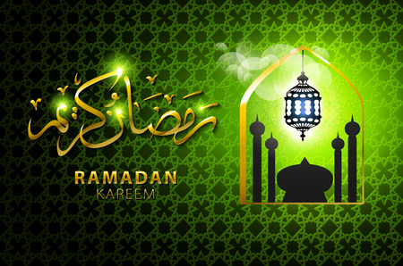 vector illustration of religious green color eid background design with mosque. art