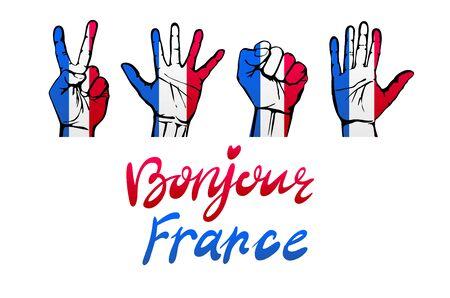 red flag up: France flag icon set. vector illustration art