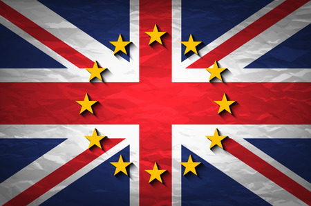 england politics: United Kingdom and European union flags combined for the 2016 referendum on crumpled paper background. Vintage effect brexit art