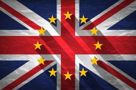 yes or no to euro: United Kingdom and European union flags combined for the 2016 referendum on crumpled paper background. Vintage effect brexit art