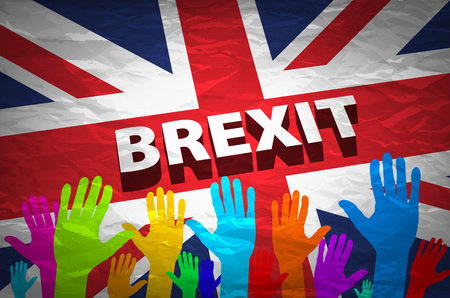 remain: two persons holding hands patterned with the flag of the United Kingdom and the flag of the European Community, with a vignette added art