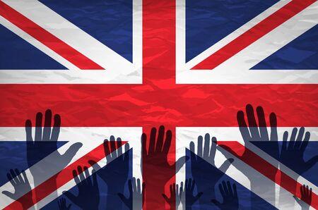 hand raised: Open hand raised, multi purpose concept, UK United Kingdom flag painted isolated on white background art