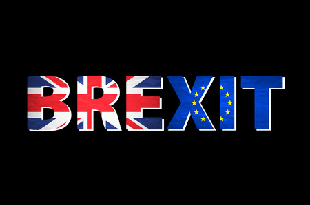 named: Brexit Text Isolated. United Kingdom exit from europe relative image. Brexit named politic process. Referendum theme art