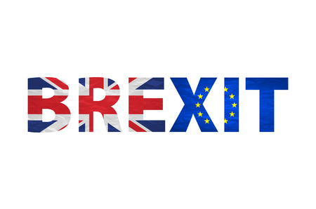 yes or no to euro: Brexit Text Isolated. United Kingdom exit from europe relative image. Brexit named politic process. Referendum theme art