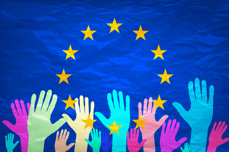 Image of hands on the background of the European flag. make a choice. vote. Cast your vote for Europe. art Vettoriali