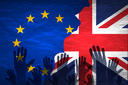 governmental: hand patterned with the flag of the European Community envelops another hand patterned with the flag of the United Kingdom art Illustration