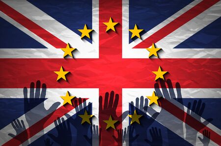 european community: hand patterned with the flag of the European Community envelops another hand patterned with the flag of the United Kingdom art Illustration