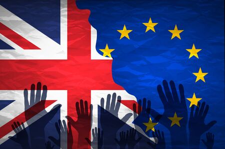 remain: hand patterned with the flag of the European Community envelops another hand patterned with the flag of the United Kingdom art Illustration