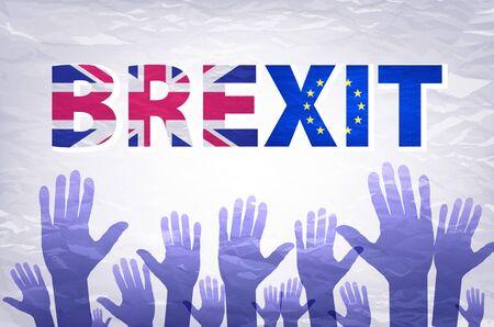european community: Brexit Text Isolated art vector hand. flag of the European Community of the United Kingdom