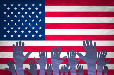 hand raised: Open hand raised, multi purpose concept, USA (United States of America) flag painted - isolated on white background art