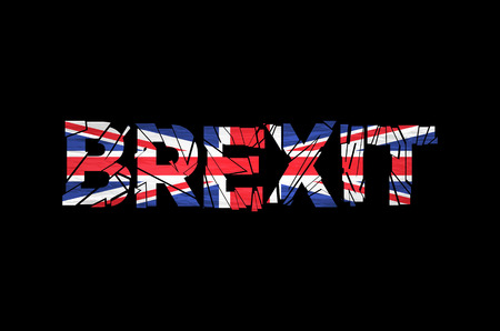 politic: Brexit Text Isolated. Brexit cracks Text Isolated. United Kingdom exit from europe relative image. Brexit named politic process. Referendum theme art Illustration