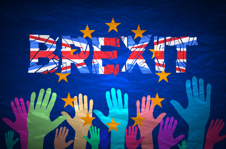 yes or no to euro: Brexit Text Isolated art vector colorfull hand art