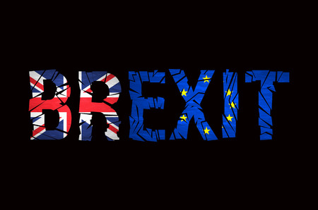 england politics: Brexit Text Isolated. Brexit cracks Text Isolated. United Kingdom exit from europe relative image. Brexit named politic process. Referendum theme art Illustration