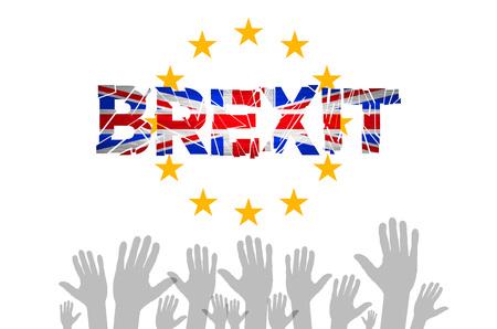 european community: Brexit Text Isolated art vector hand. flag of the European Community of the United Kingdom vector art Illustration
