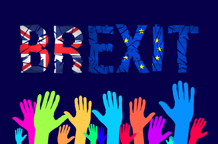 named: Brexit cracks Text Isolated. United Kingdom exit from europe relative image. Brexit named politic process. Referendum theme art
