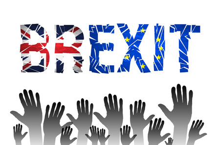 referendum: Brexit Text Isolated. Brexit cracks Text Isolated. United Kingdom exit from europe relative image. Brexit named politic process. Referendum theme art Illustration