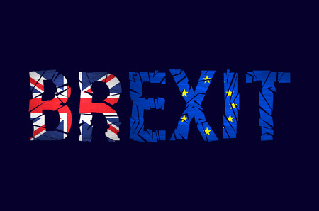 politic: Brexit cracks Text Isolated. United Kingdom exit from europe relative image. Brexit named politic process. Referendum theme art