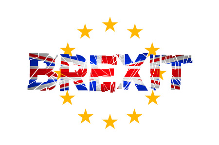 yes or no to euro: Brexit. Flags of the United Kingdom and the European Union to illustrate possible exit of Great Britain from the EU art vector Illustration