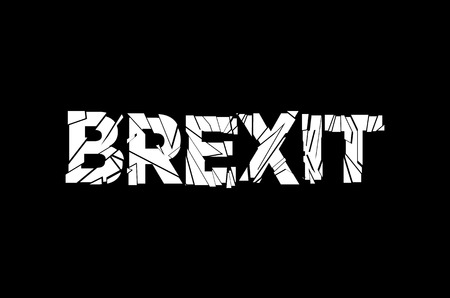 referendum: word Brexit the two options and the date of the referendum of the permanence of United Kingdom in the European Union on a black background. art