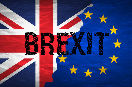 yes or no to euro: Brexit cracks Text Isolated. United Kingdom exit from europe relative image. Brexit named politic process. Referendum theme art