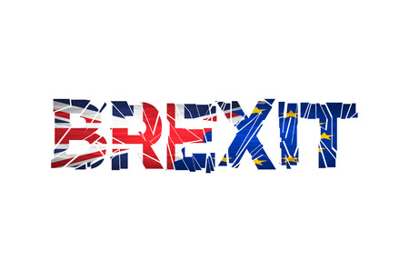 yes or no to euro: Brexit Text Isolated. Brexit cracks Text Isolated. United Kingdom exit from europe relative image. Brexit named politic process. Referendum theme art Illustration