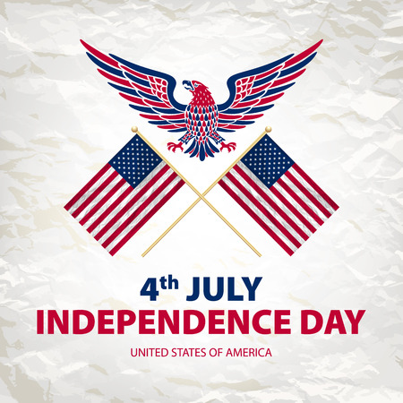 easy to edit vector illustration of eagle with American flag for Independence day art  イラスト・ベクター素材