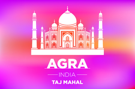 ight: Taj Mahal in ight on pink sunrise vector art