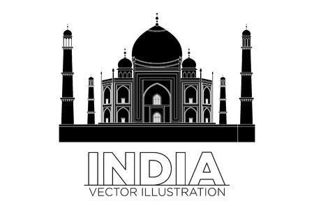 agra: Taj-mahal temple silhouette. Vector art