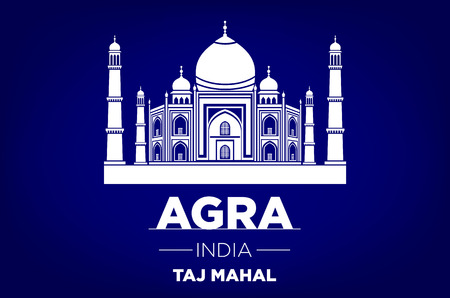 agra: agra Taj Mahal india vector blue background art
