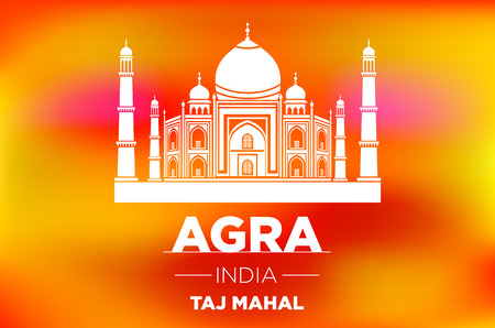 agra: sunrise agra Taj Mahal india vector orange background art Illustration
