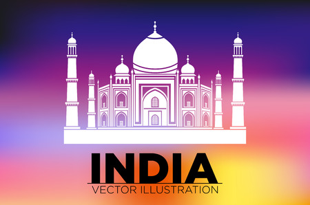 agra: Taj Mahal Agra India vector art asia