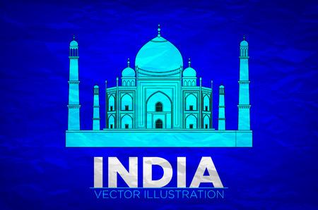 agra: India. Taj Mahal on Vector illustration art