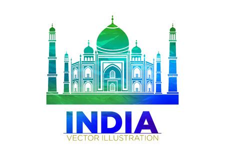 wonder: Retro World Wonder of Taj Mahal Palace in India Vector Illustration art