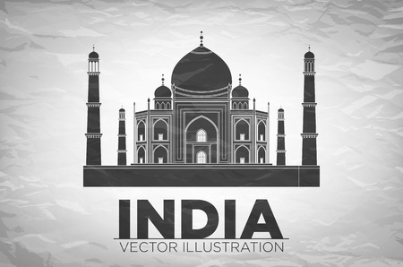 agra: Vector illustration of Taj Mahal an ancient Palace in India art Illustration
