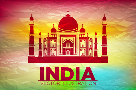 mahal: Stencil of the Taj Mahal on a sunset background. art vector