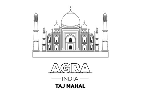 agra: India City Line Taj Mahal india Typographic Design vector art