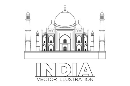 taj mahal vector illustration, symbol in black lines art Vettoriali
