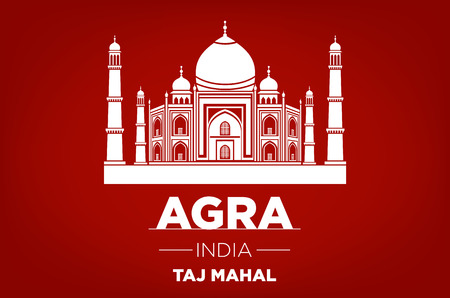 agra: agra Taj Mahal india vector red background art