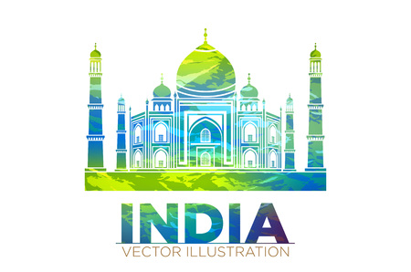 agra: Retro World Wonder of Taj Mahal Palace in India Vector Illustration art
